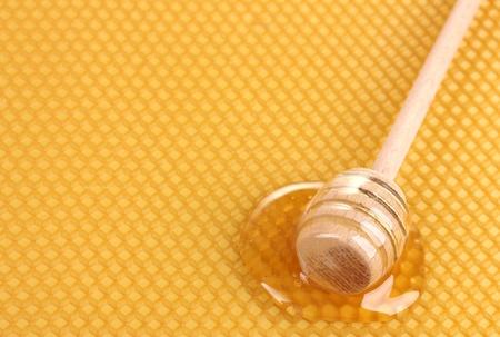 miel de abeja: nido de abeja de color amarillo hermoso y la miel drizzler de madera con la miel