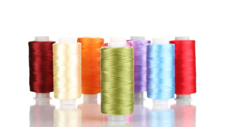 Many spools of thread isolated on white Stock Photo - 12311035