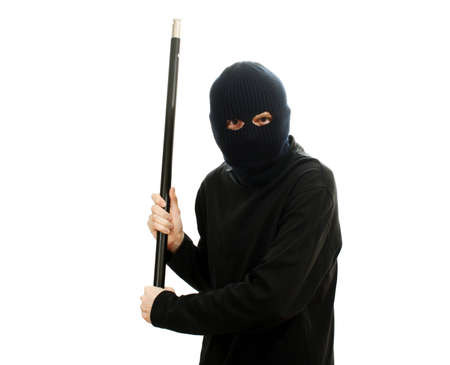 larceny: Bandit in black mask with pipe isolated on white Stock Photo