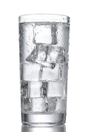 ice water: glass of water with ice isolated on white Stock Photo