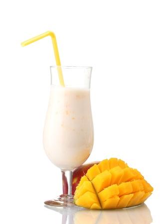 mango isolated: Milk shake with mango isolated on white