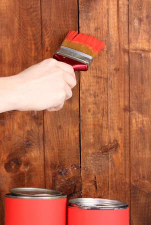 Painting wooden fence photo