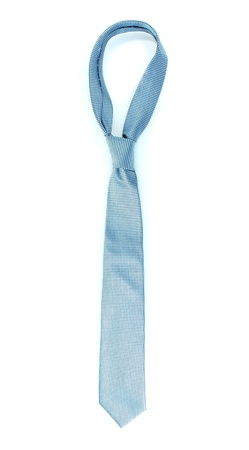 ironed: Blue tie on wooden hanger isolated on white Stock Photo