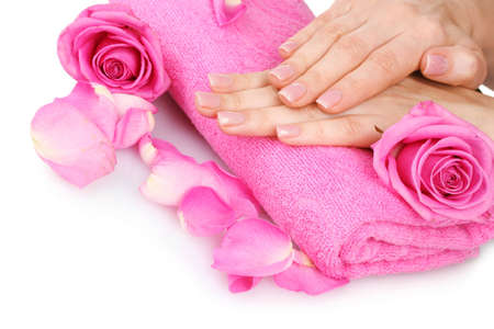 Pink towel with roses and hands on white background Stock Photo - 12439989
