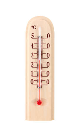 Wooden thermometer isolated on white photo