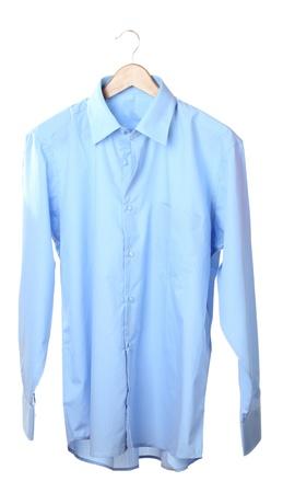 gentleman's: Blue shirt on wooden hanger isolated on white Stock Photo