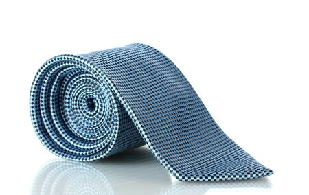 Blue tie isolated on white photo