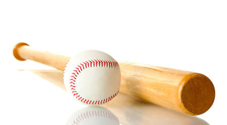 baseball ball and bat isolated on white photo