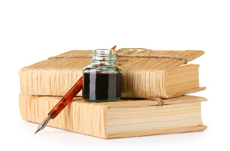 ink bottle: old books, ink pen and ink bottle isolated on white
