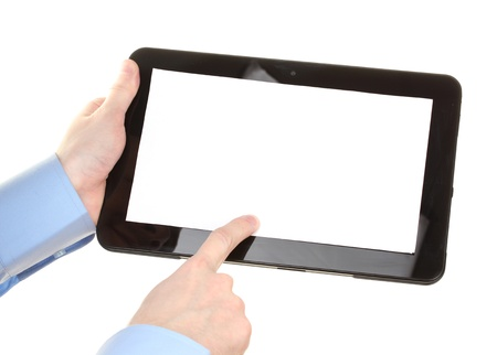 click hand: male hands holding a tablet isolated on white Stock Photo