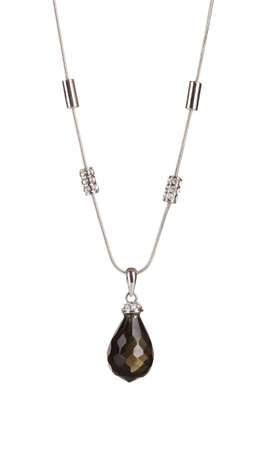 silver jewelry: Pendant with black gem isolated on white