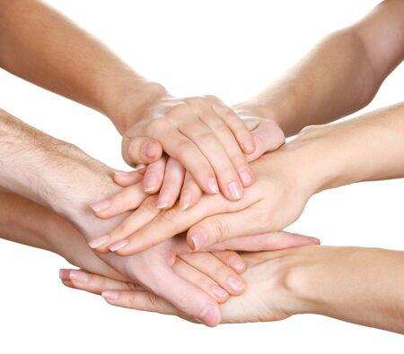 groupe de mains des jeunes isol� sur blanc