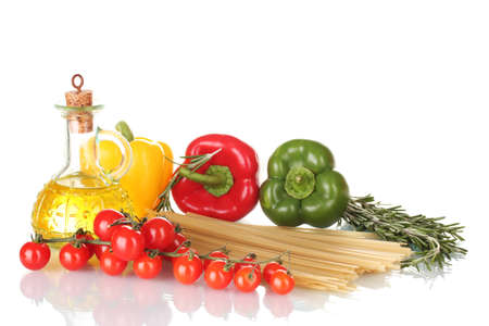 spaghetti, jar of oil, rosemary, paprika and tomatoes cherry isolated on white photo
