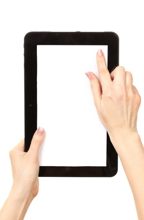 blank tablet: woman hands holding a tablet isolated on white