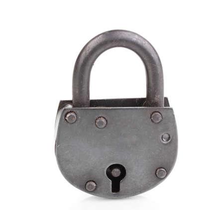 Retro padlock isolated on white photo