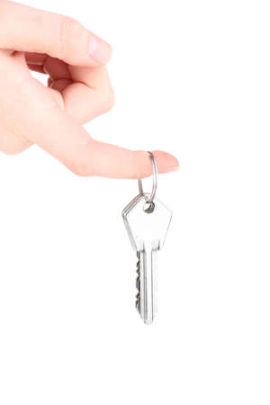 Keys in hand isolated on white Stock Photo - 12439304