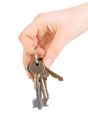 Bunch of keys in hand isolated on white Stock Photo - 12439238