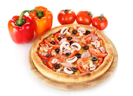 Aromatic pizza with vegetables isolated on white Stock Photo - 12564368