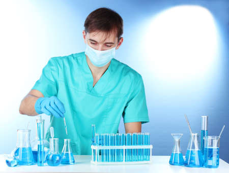 scientist in the lab working with chemicals test-tubes Stock Photo - 12564450