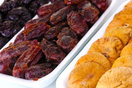 Dried fruits in plastic packaging close up photo