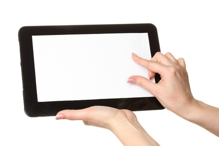 woman hands holding a tablet isolated on white Stock Photo - 12564143