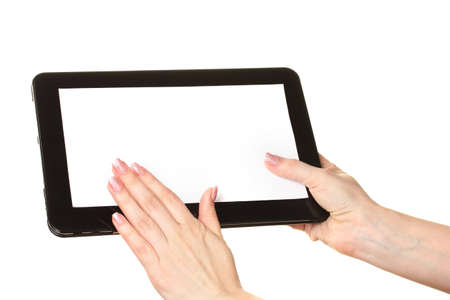 woman hands holding a tablet isolated on white photo
