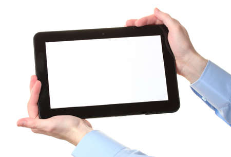 male hands holding a tablet isolated on white photo