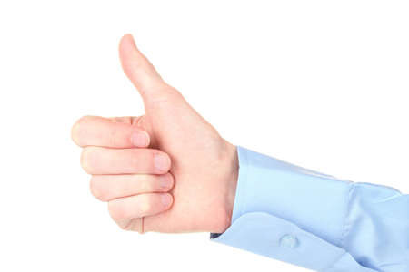 man's thumb: mans hand with thumb up ok signal isolated on white