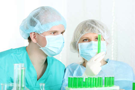 two scientists working in chemistry laboratory Stock Photo - 12564060