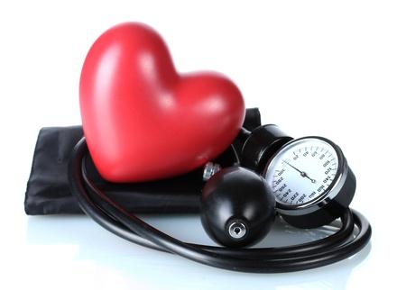 Black tonometer and heart isolated on white Stock Photo - 12564144