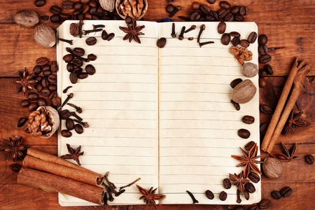 old paper for recipes and spices on wooden table photo