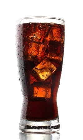 Glass of cola with ice isolated on white photo