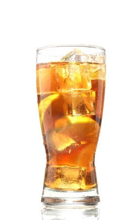 Iced tea with lemon and lime isolated on white photo