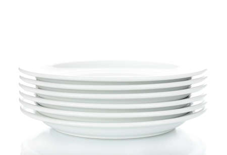 empty plates isolated on white photo