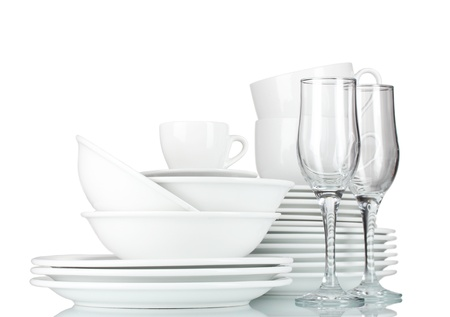 crystal bowl: empty bowls, plates, cups and glasses on grey background Stock Photo