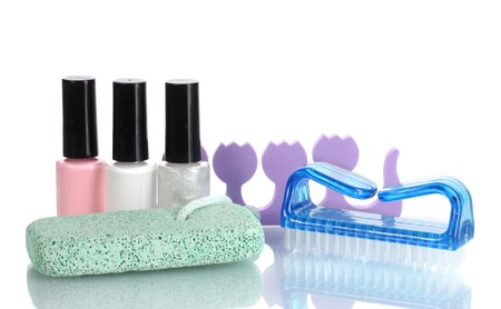 Pedicure set isolated on white photo
