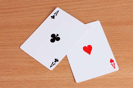 lear: Two cards on wooden background