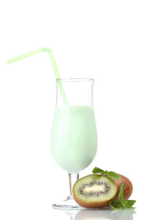 Milk shake with kiwi isolated on white photo