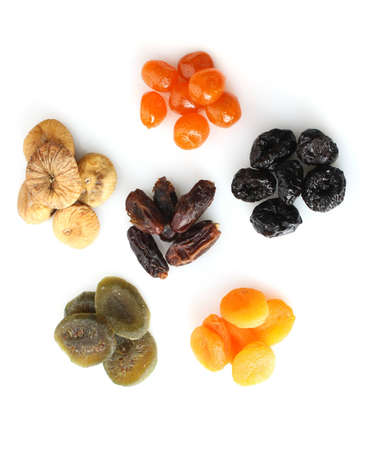 Dried fruits isolated on white photo