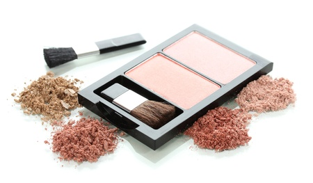 Make-up blusher in box isolated on white photo