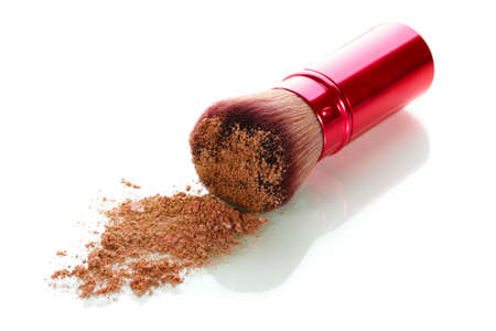 brush and blusher isolated on white Stock Photo - 12664549
