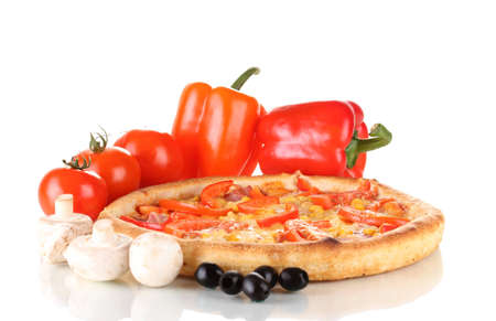 Aromatic pizza with vegetables and mushrooms isolated on white Stock Photo - 12664311