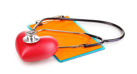 Stethoscope, heart and blank clipboard isolated on white photo