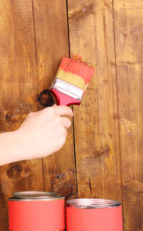 Painting wooden fence Stock Photo - 12665814