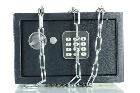 safe and chain isolated on white Stock Photo - 12665771