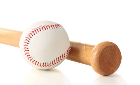 baseball ball and bat isolated on white photo