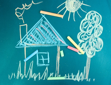 primary colours: House, childs drawing with chalk