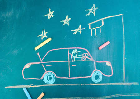 Car on road, child's drawing with chalk Stock Photo - 12665305