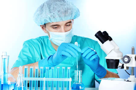 scientist in the lab working with chemicals test-tubes Stock Photo - 12664822