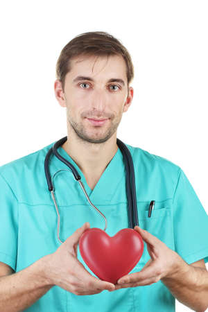 young doctor man with stethoscope and heart on blue backgrounds